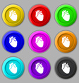 Human heart icon sign symbol on nine round vector image