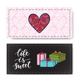 valentines day banners with gifts and modern vector image