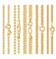 Set of realistic golden chains with clasp vector image