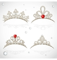 Set openwork jewelry tiaras with diamonds and vector image vector image