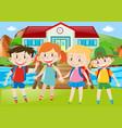 happy children standing on grass vector image