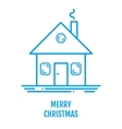 Merry Christmas concept with house and smoke in vector image