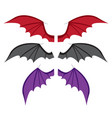 set bat wings in color in flat style vector image
