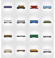 railway transport flat icons 17 vector image