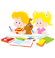 Children do homework vector image