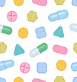 Tablets and pills seamless pattern vector image