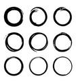 round shape frame set grunge stamps doodle line vector image