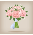 Wedding bouquet of pink roses vector image vector image