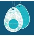 blue line art flowers Easter egg shaped vector image