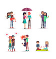 cheerful six pair of lovers on white background vector image