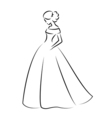 Sketch of an elegant bride in white wedding dress vector image