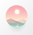 Smooth polygonal landscape design in circle vector image