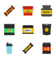 sport supplement icons set flat style vector image