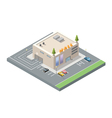 isometric low poly mall shopping centre with vector image