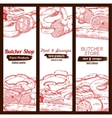 Butchery butcher shop meat sausages banners sketch vector image vector image