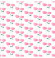 cherry in the form of hearts seamless pattern vector image