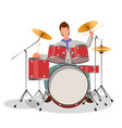 musician playing drums vector image