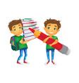 boys with big school bags set vector image
