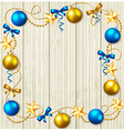 Stars and blue and yellow baubles vector