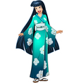 Asian Woman In Blue Kimono vector image