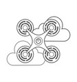 drone flying technology with clouds vector image