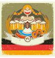 Vintage oktoberfest poster label with girl and vector image