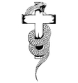 snake and cross vector image vector image