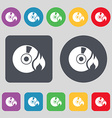 CD icon sign A set of 12 colored buttons Flat vector image vector image