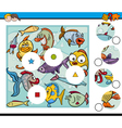 match pieces game with fish vector image
