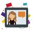 tablet girl chat message bubble speech bakcground vector image