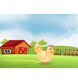 A hen in the farm with a wooden house at the back vector image