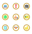 time management icons set cartoon style vector image