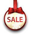 Sale label with red gift bow vector image