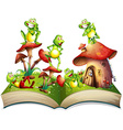 Book with many frogs smiling vector image