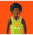 African athlete with golden medal for first place vector image