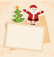 Congratulation gold retro background with Santa vector image