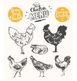 Meat menu scheme chicken cuts drawn vector image