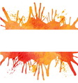 Orange watercolor paint background with blots and vector image