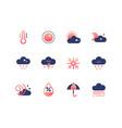 weather types symbols - set of flat design style vector image