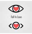 eye icon and heart icon vector image