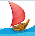 Romantic boat with red sail vector image vector image