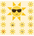 sun set with funny smiley faces vector image vector image