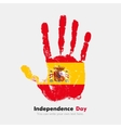 Handprint with the Flag of Spain in grunge style vector image