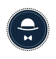 hat and bowtie emble icon vector image