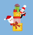 Santa and penguin with presents vector image