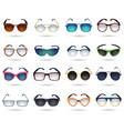 Sunglasses fashion reflection mirror icons set vector image