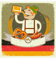 vintage oktoberfest posterl with German man and vector image