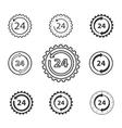 24 hour service icon set vector image