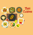thai cuisine dinner with fruit dessert icon design vector image