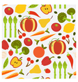 Colorful fruit and vegetables seamless pattern vector image vector image